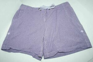 New York & Co Womens Size 8 Purple White Striped Shorts Tie Front Stretch Cotton