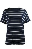 M&S Marks Spencer Womens Navy White Nautical Striped Relaxed Tee T Shirt 12-24
