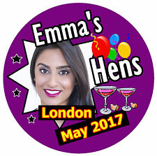 15 X HEN NIGHT PERSONALISED - BIG  BADGES WITH PHOTO / DATE/PLACE/NAME - NEW