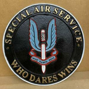 SAS - WHO DARES WINS - Cast Iron Wall Sign - Special Forces Army Military - 24cm