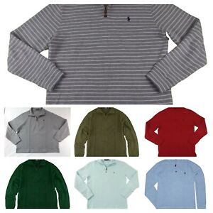 Mens POLO Ralph Lauren Half Zip 1/2 Mock Neck French Rib Sweater Pullover Cotton