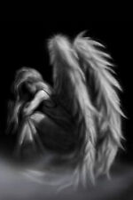 Framed Print - Gothic Angel Sat in The Mist (Picture Poster Wings Art B&W)