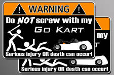 Funny Go Kart warning sticker Cart decal