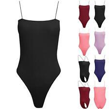 Ladies Thin Strappy Sleeveless Bodysuit Womens Camisole Swimwear Fit Leotard Top