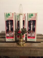 """3 Vintage Noma 9"""" Battery Operated Lighted Candles Window Holiday Orig Box-Works"""