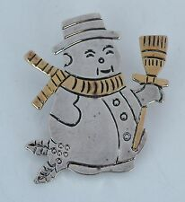 silver, gold plate, figural, Christmas Snowman pin, brooch or pendant, sterling