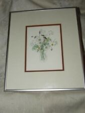 4 1980s Mary Lou Rich Goertzen Floral Botanical Prints Beautifully Framed Matted