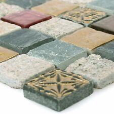 Glas Naturstein Retro Mix Mosaikfliesen Sulluna Gold Grau | Wand Küche Bad