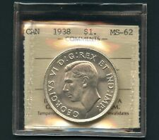 1938 Canada Silver Dollar Coin Graded ICCS MS62 # DZ 230