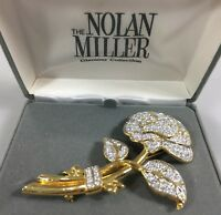 """Nolan Miller Glamour Collection Goldtone Crystal Rose Pin Brooch NEW Signed 3.5"""""""