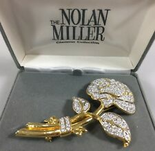 Nolan Miller Glamour Collection Goldtone Crystal Rose Pin Brooch NEW Signed 3.5""