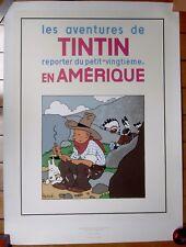 Hergé Tintin en Amérique Sérigraphie 60X80