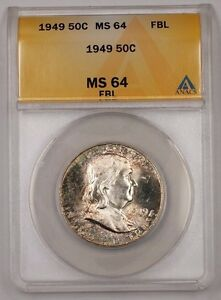 1949 Franklin Silver Half Dollar 50c Coin ANACS MS-64 FBL Nicely Toned