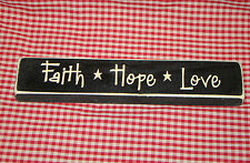 "Rustic Primitive Country Wood sign engraved words ""FAITH HOPE LOVE"" home decor"