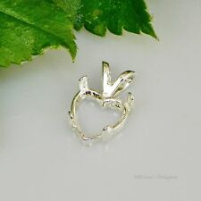 8mm Heart Cabochon (Cab) Sterling Silver Pendant Setting