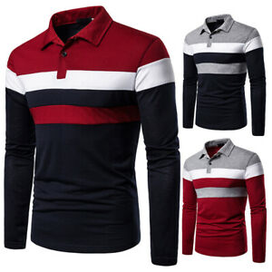 Men's Slim Fit Shirt Long Sleeve Casual Striped T-shirt Tee Pol Tops