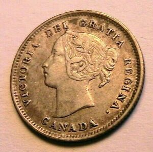 1899 CANADA 5 Cents Choice XF+ w Luster Queen Victoria Silver Five Cent 5C Coin