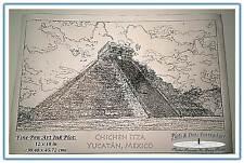 Mayan Temple, Chichen Itza -Yucatan, Mexico: Plots & Dots Pen Portrait 12 x 18in