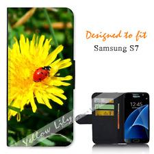Samsung Galaxy S7 Wallet Flip Phone Case Cover Lady Bug Flower Y00872