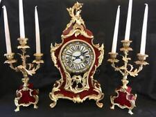 "Antique boulle clock French bombe cased garniture large 21"""