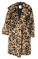 Avec Les Filles, Women's Brown Black Leopard Print Over Sized Coat, Size Small