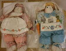 Folk Art Americana Best Dressed Rabbit Couple Weighted Doll Pair of 2 Wholesale