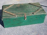 Antique Green Painted Country / Rustic Tool Box / Chest