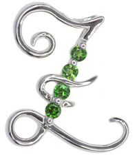 Chrome Diopside Letter Z Gemstone Pendant Sterling Silver + Chain