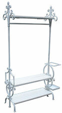 Vintage Style Tall White Metal Shabby Chic Hanging Display Stand Clothes Rail