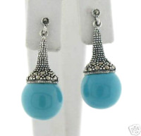 Sterling Silver Marcasite Elegant Turquoise Ball Drop Dangle Statement Earrings