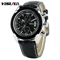 YISUYA Military Men's Date Quartz Chronograph Black Genuine Leather Wrist Watch