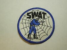 Vintage SWAT Officer & Spider Web Round Iron On Patch