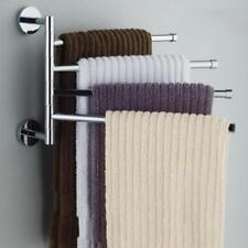Swing Swivel Towel Rack Hanger Holder Wall Mounted 4 Arm Rotatable Stainless Bar
