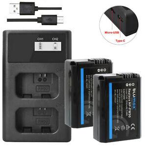 Ersatz (2x) für Akku Sony NP-FW50 | DUAL-Ladegerät USB LCD | Alpha NEX 7 RX10 a