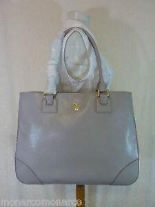 NWT Tory Burch Mercury Gray Saffiano Leather Robinson E/W Large Tote - $575