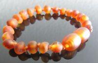 Genuine Unpolished Baltic Amber Bracelet/Anklet - Beads Knotted (sizes 14-18 cm)