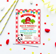 Farm Themed Birthday Party Invitations *Any Age* - pack of 10 with envelopes