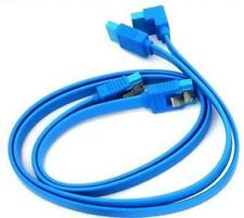 2x Gigabyte SATA 3 6GB/s Cables Quality Light Blue Right Angle Straight Cable UK