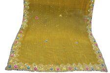 Vintage Dupatta Long Scarf Hijab bridal yellow multi sequin over Veil Stole