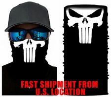 Face Mask Shield Gaiter B&W PUNISHER Washable Reusable US Shipping - IN STOCK