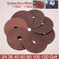 50pcs 100x16mm Fibre Sanding Grinding Discs Wheels 24-120Grit For Angle Grinder