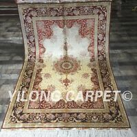 Yilong 4'x6' Antique Handmade Area Rug Top Persian Hand Knotted Silk Carpet 064A