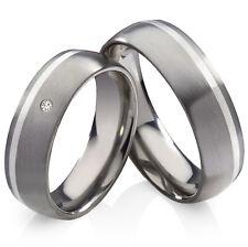2 Verlobungsringe aus Titan und 925 Silber mit echtem Diamant Lasergravur  TSB13
