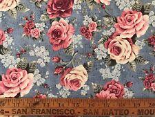 Vintage Cotton Quilt Fabric Roses   BTHY
