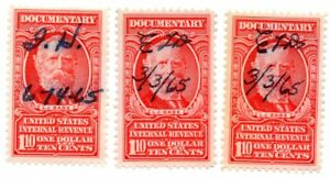 1954 US Revenue $1.10 Documentary Stamps Scott  # R668 Set of 3