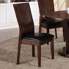 SET OF 2 KITCHEN DINNING CHAIRS WITH ESPRESSO FAUX LEATHER SEATING