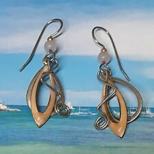 Silver Forest Pink Hoop and Swirl Dangle Earrings