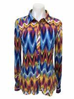 BCBG Max Azria Snap Button Down Roll Tab Sleeve Shirt Blouse Top Women's Size M