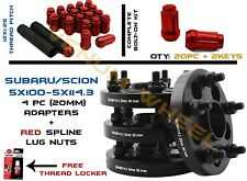Subaru 5x100 To 5x114.3 Conversion Adapter Kit + 20pc Red Spline Lug Nuts