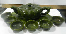 Chinese green jade hand carved statues Kung Fu Tea Pumpkin Teapot cups one set